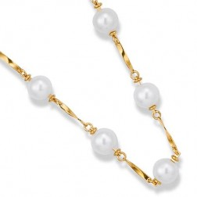 Collier de perles blanches et plaqué or - Triniti