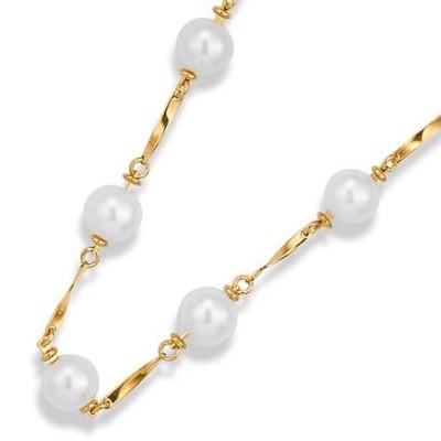 Collier de perles plaqué or pour femme, Triniti