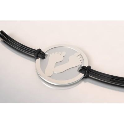 bracelet empreinte de pied en argent et acier, pour homme et femme