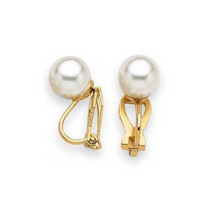 Boucles d'oreille femme, clip's & perle blanche de 8 mm - Santana - Lyn&Or Bijoux