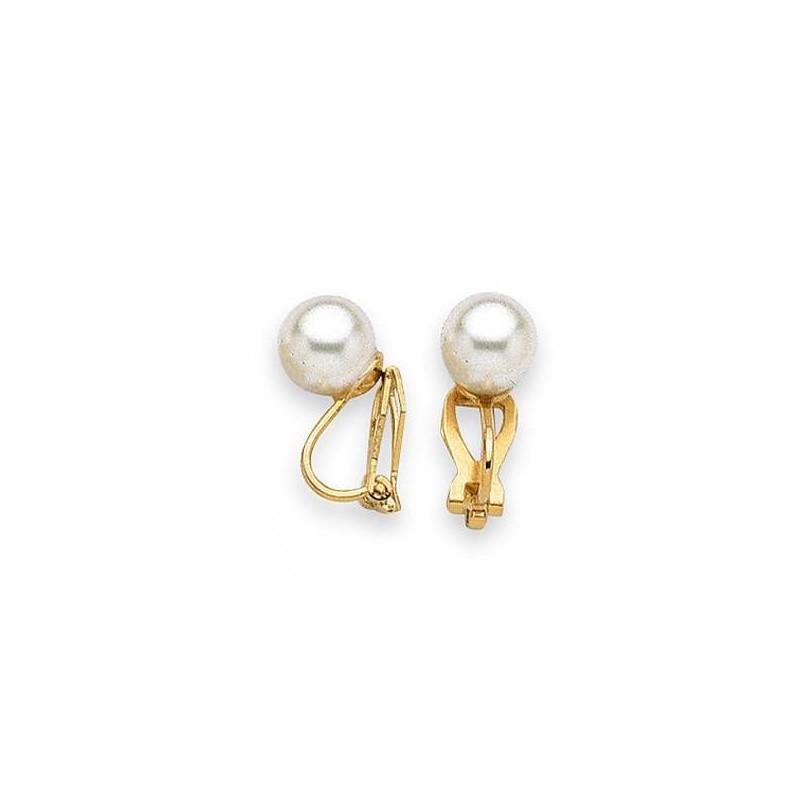 Boucles d'oreilles en plaqué or et perle pour femme, Santana 8mm