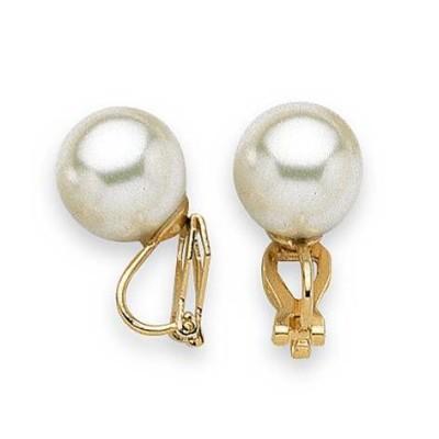 Boucles d'oreille clip femme, perle blanche de 12 mm - Santana - Lyn&Or Bijoux