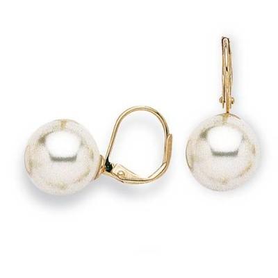 Boucles d'oreilles en plaqué or et perle pour femme, Julia 12mm