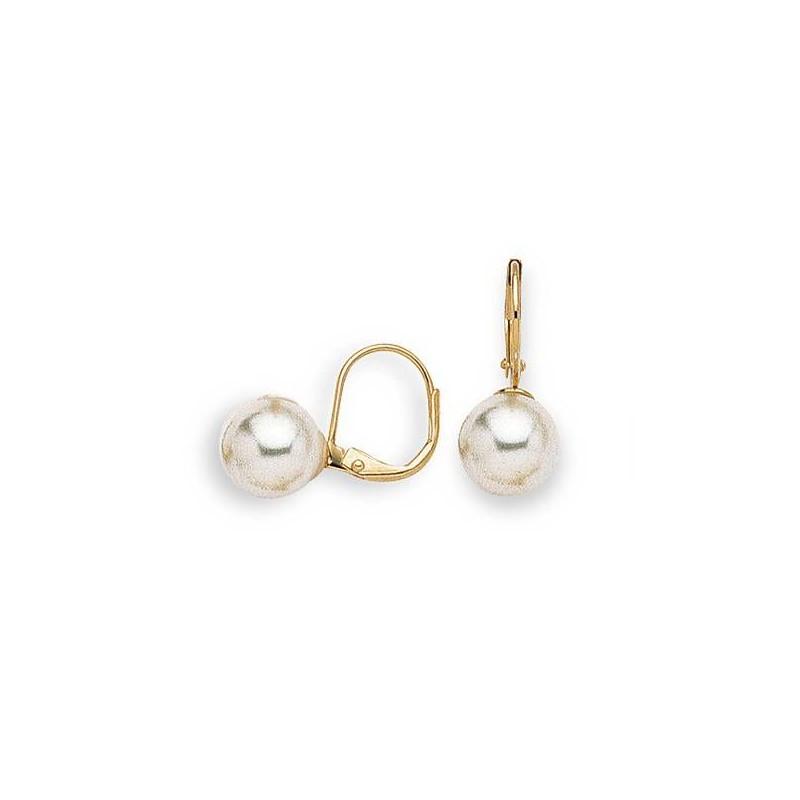 Boucles d'oreilles en plaqué or et perle pour femme, Julia 10mm