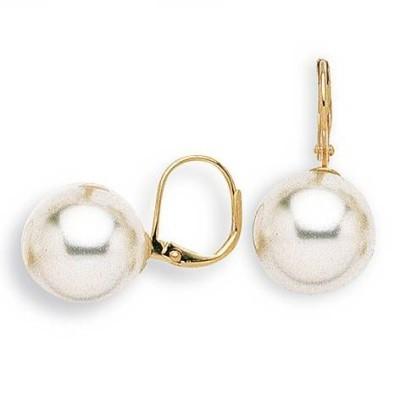 Boucles d'oreille dormeuses femme, Perle blanche 14 mm - Julia - Lyn&Or Bijoux