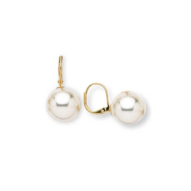 Boucles d'oreilles en plaqué or et perle pour femme, Julia 14mm