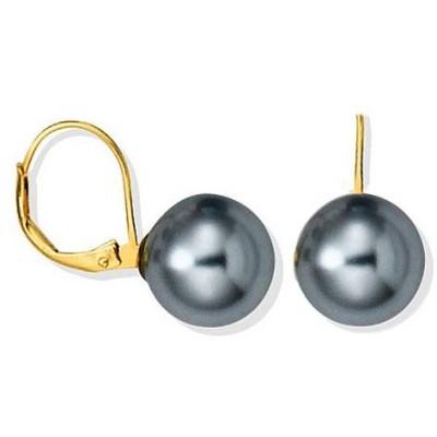 Boucles d'oreille femme, Dormeuses & perles grises 12 mm - Abysse - Lyn&Or Bijoux