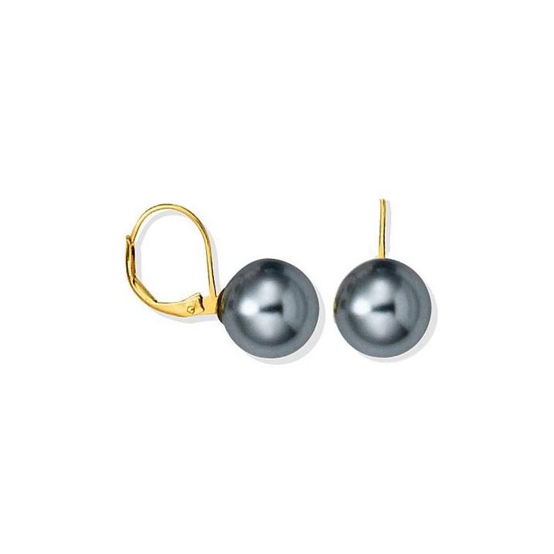 Boucles oreille en plaqué or, perle grise, Abysses