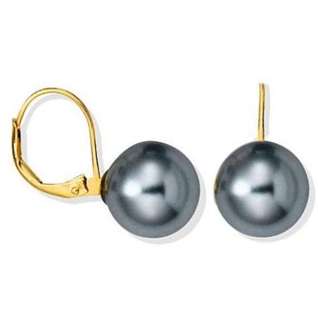 Boucles d'oreilles en plaqué or, perle grise - Abysses