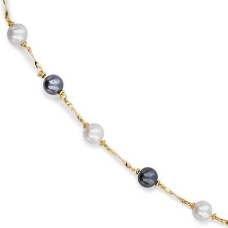 Gourmette avec perle blanches et noires et plaqué or pour femme - Pandore