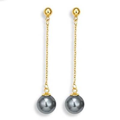 Boucles d'oreilles perle grise et plaqué or pour femme - Eywa - Lyn&Or Bijoux