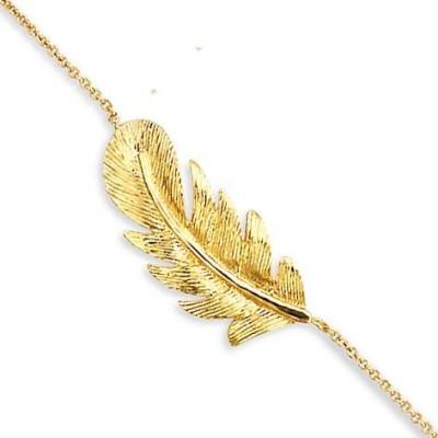 Bracelet plume en plaqué or - Douce Brise