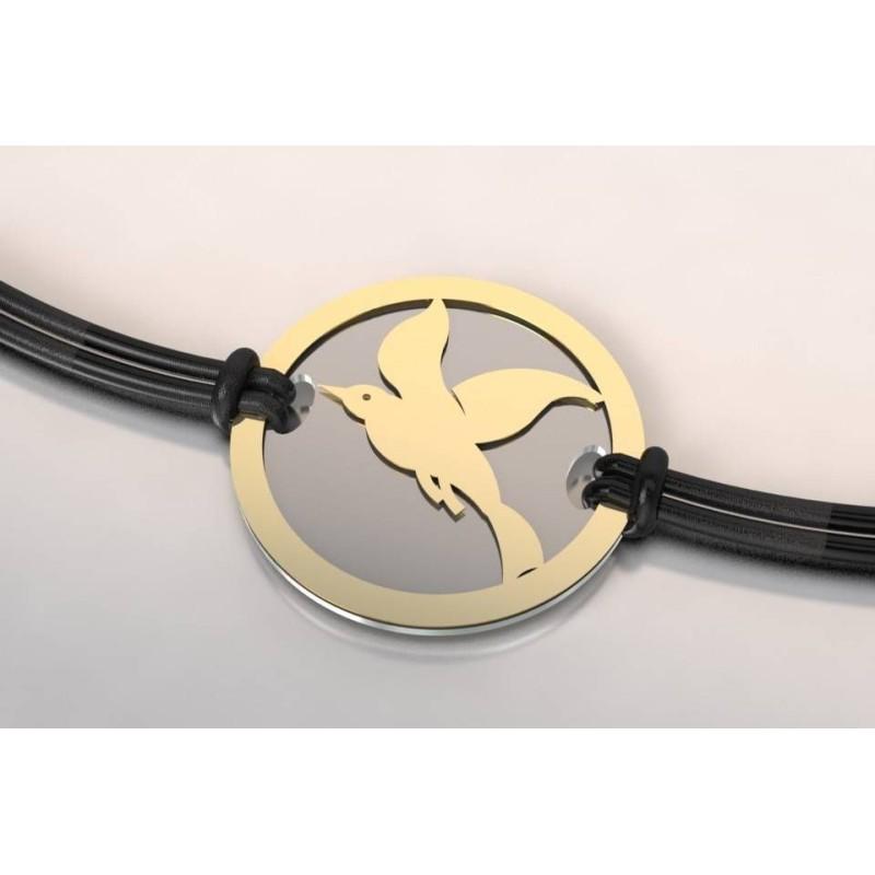Bracelet de créateur original motif Cayouckette acier et or