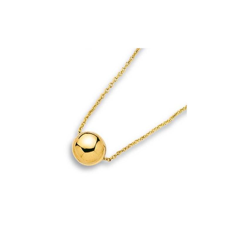 collier pas cher en plaqué or pour femme, chaîne et perle dorée - Bijoux Femme