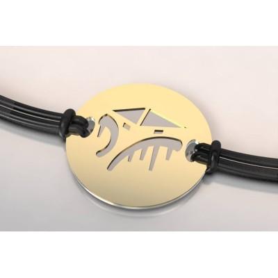Bracelet créateur original Cabane tchanquée acier, or
