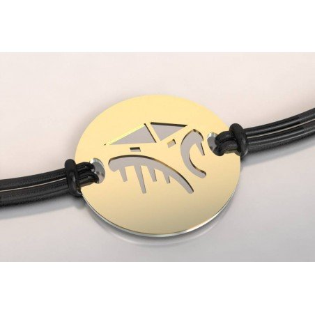 Bracelet créateur original mixte Cabane tchanquée acier - or