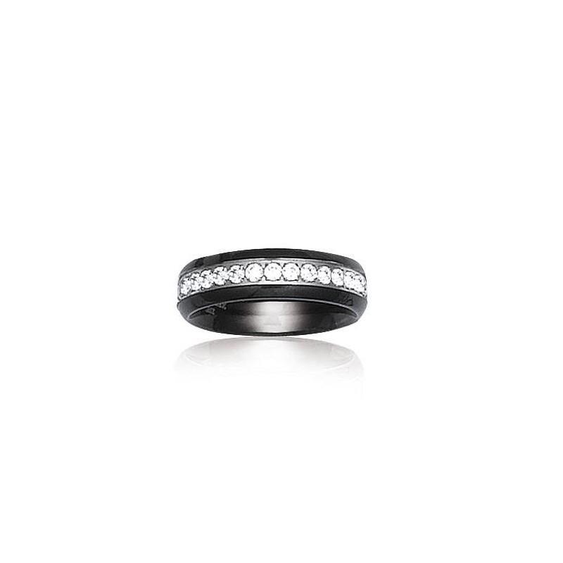 bague et anneau en céramique pour femme : céramique noir et zirconium