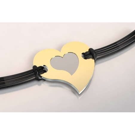 Bracelet de créateur en acier et or - Coeur