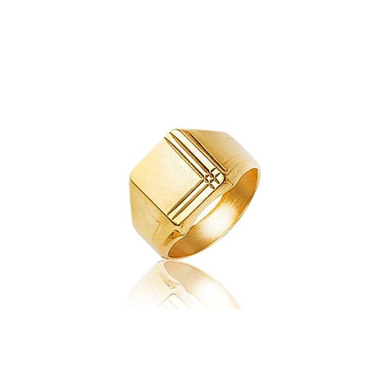 Bague Chevalière plaqué or pour homme, Métro