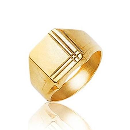 Bague Chevalière en plaqué or pour homme, Métro