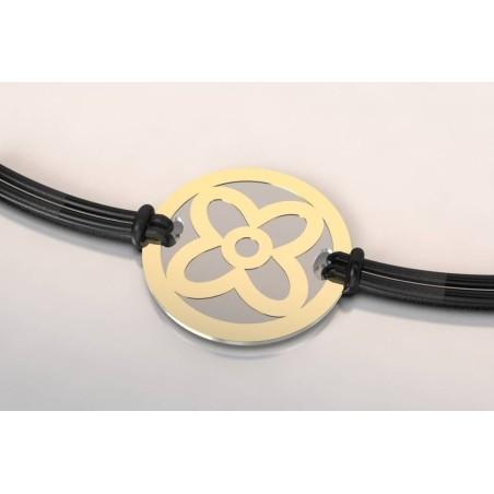 Bracelet créateur original femme Fleur acier - or