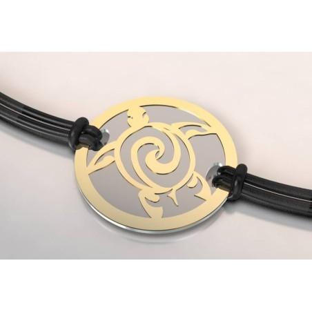 Bracelet de créateur original femme - homme acier / or 18 carats Tortue