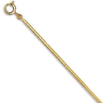 Chaîne en plaqué or 1,5 mm pour femme, Maille serpent-cube