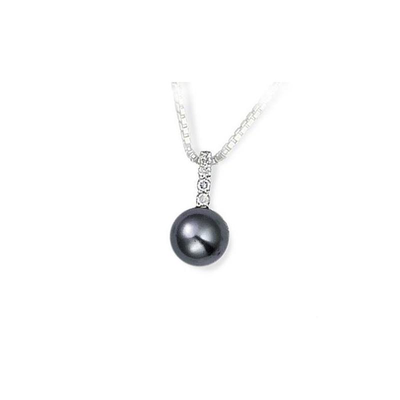 pendentif perle grise, argent et oxyde de zirconium pour femme