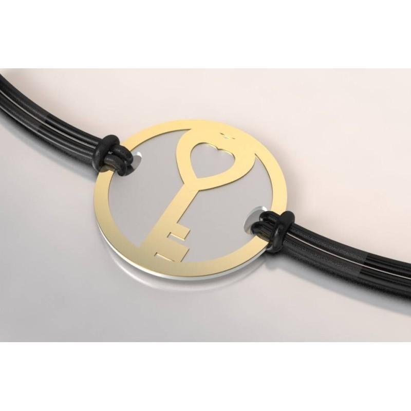Bracelet créateur original Clef acier gris et or jaune