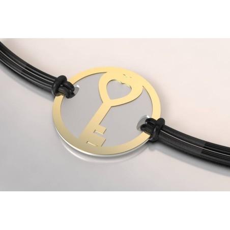 Bracelet créateur original mixte Clef acier gris et or jaune