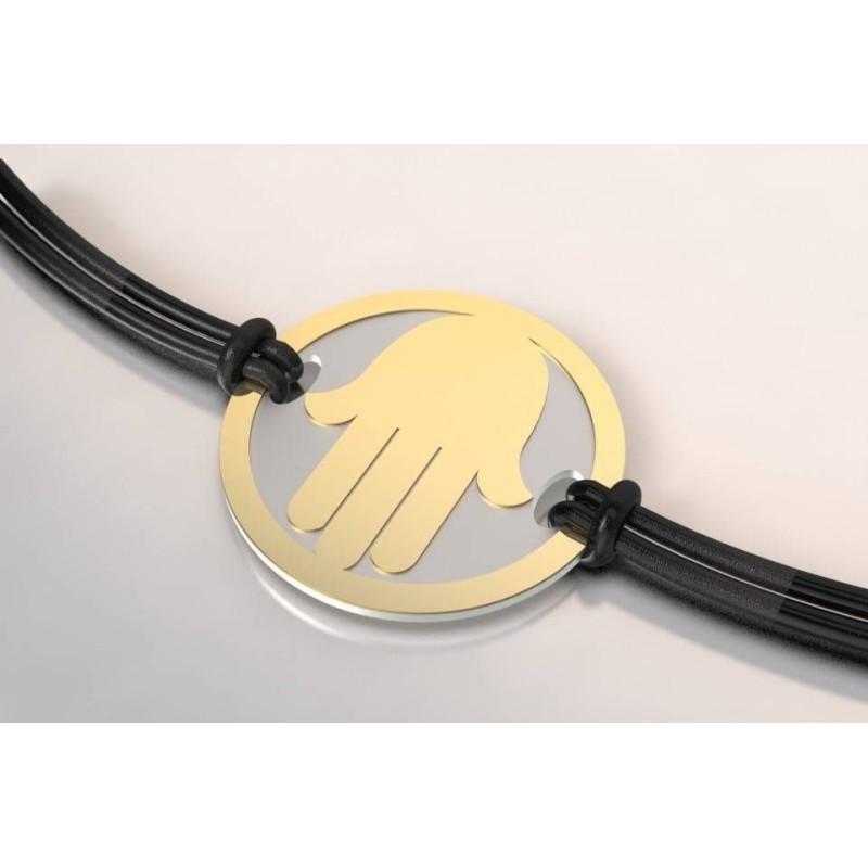 Bracelet de créateur en acier et or pour femme - Main - Lyn&Or Bijoux