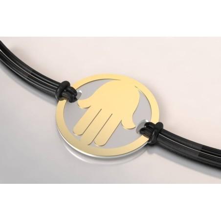 Bracelet créateur original mixte Main acier, or
