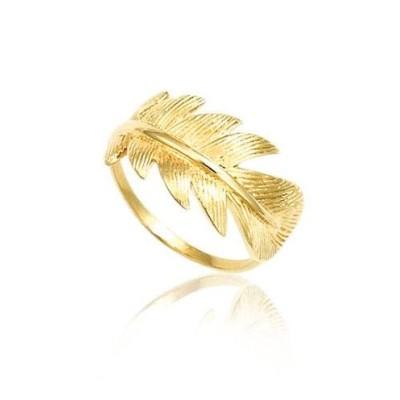 Bague plume en plaqué or pour femme - Douce Brise