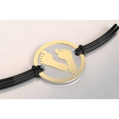 Bracelet créateur, acier et or - Empreinte de pied