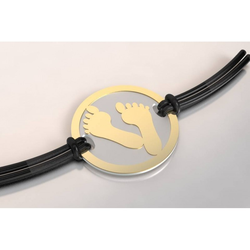 Bracelet de créateur original Pied acier et or 18 carats