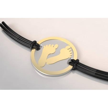 Bracelet de créateur original mixte Pied acier et or 18 carats