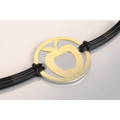 Bracelet de créateur en acier et or pour femme - Pomme - Lyn&Or Bijoux