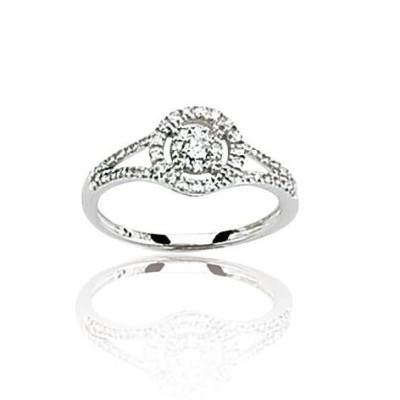 Bague diamant et or blanc 18 carats, pour femme, Roxane