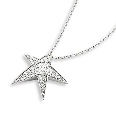 Collier or blanc 18 carats et diamant pour femme, Estrella