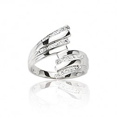 Bague en or blanc 18 carats, diamant pour femme - Orléans