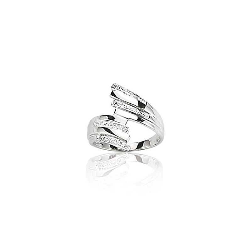 Bague diamant et or blanc 18 carats, pour femme, Orléans