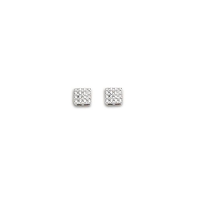Boucles d'oreilles or blanc, diamant carré pour femme - Cassiopée - Lyn&Or Bijoux