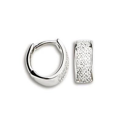 Créoles en or blanc 18 carats et diamants pour femme - Gala - Lyn&Or Bijoux
