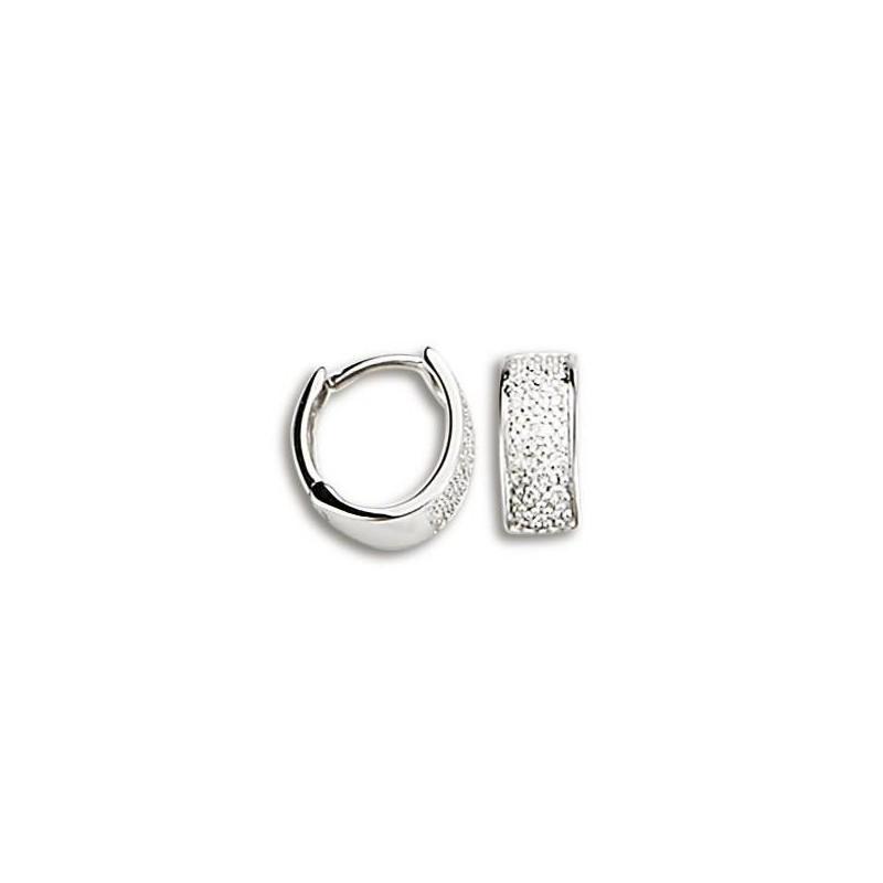 Créoles en or blanc 18 carats et diamants - Gala