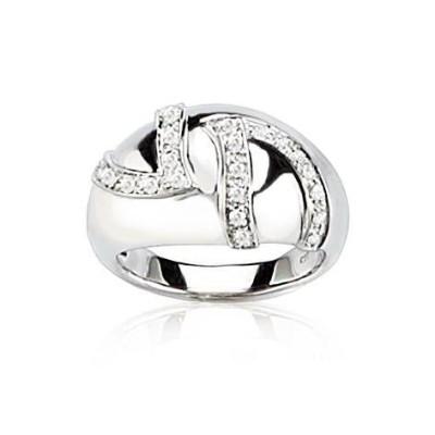 Bague femme, bague gaudron en or blanc et diamants - Rêve - Lyn&Or Bijoux