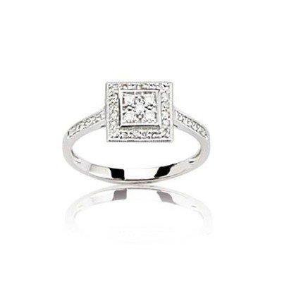 Bague carrée pour femme en diamants et or blanc - Casamance - Lyn&Or Bijoux