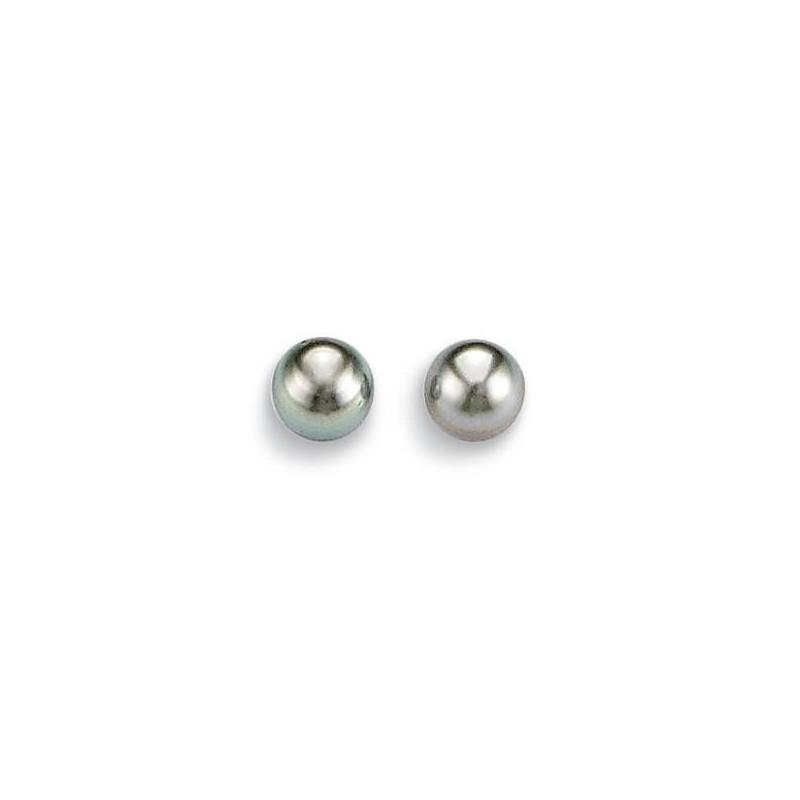 Boucles d'oreilles perle de tahiti grise et or blanc pour femme