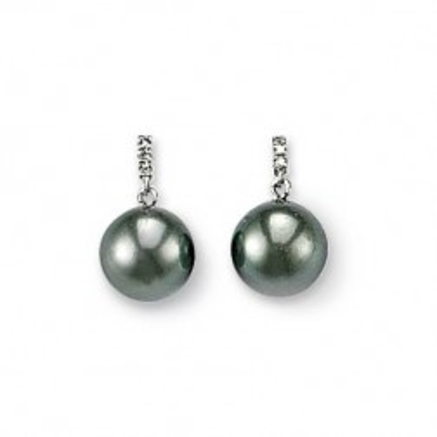 Boucles d'oreilles femme, Perles de Tahiti, diamant & or blanc, Océanie - Lyn&Or Bijoux