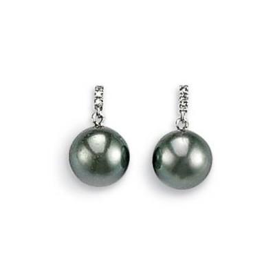 Boucles d'oreilles en or blanc, perle de Tahiti, diamant - Océanie