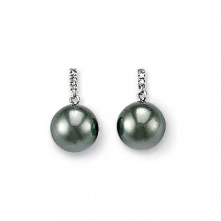 Boucles d'oreilles or blanc, perles de Tahiti, diamant - Océanie